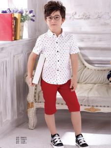 泰迪珍藏男童波点衬衫