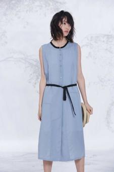 述忘女装2017夏蓝色连衣裙