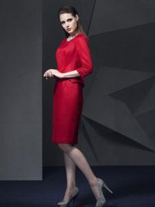 俏帛女装新品红色修身裙