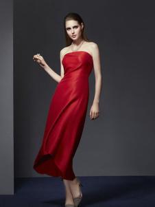 俏帛女装新品红色抹胸长裙