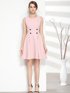 彤欣格女装2017新款无袖粉色连衣裙