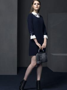 俏帛女装新品蓝色套裙