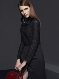 俏帛女装新品黑色蕾丝裙