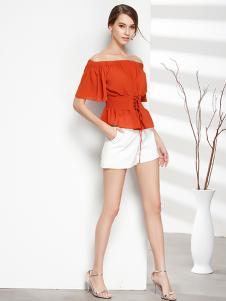彤欣格女装新款露肩橙色收腰T恤