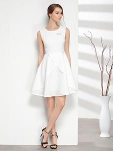 彤欣格女装新款白色无袖连衣裙