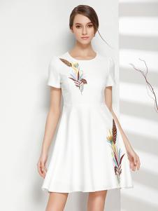 彤欣格女装2017新款圆领短袖白色连衣裙