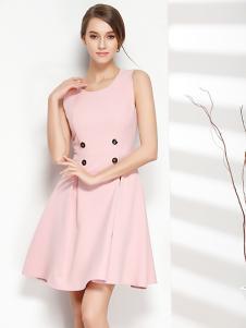 彤欣格女装2017新款粉色无袖修身连衣裙