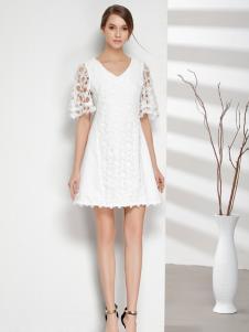 彤欣格女装2017新款V领白色连衣裙