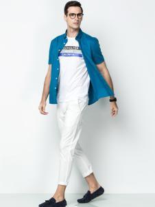 袋鼠男装17夏休闲蓝色衬衫