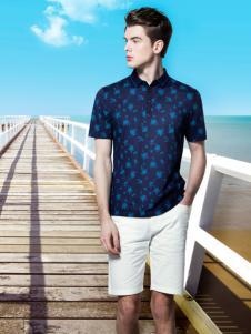 袋鼠男装17夏蓝色印花精致衬衫