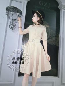 格蕾斯折扣女装纯色收腰连衣裙