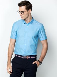 袋鼠男装17夏浅蓝色衬衫