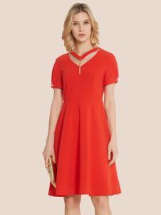 宠爱女人2017春夏新品红色女裙