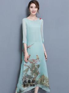 格蕾斯折扣女装新款印花圆领连衣裙