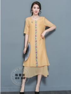 格蕾斯折扣女装夏季新款米色连衣裙