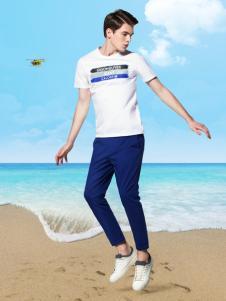 袋鼠男装17夏白色T恤