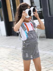 凯特密欧2017春夏新品牛仔背带裙