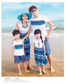 蓝色波纹沙滩裙、T恤套装JYYB14S029