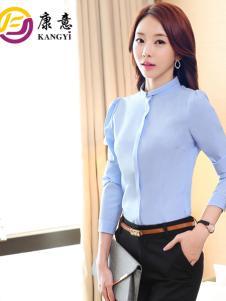 康意职业装女士蓝色立领衬衫