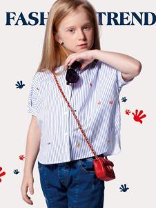 捷米梵童装2017新品女童条纹衬衫