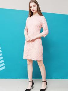 珂霓女装2017春夏新品粉色蕾丝裙