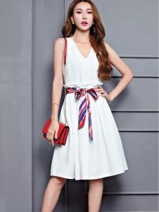 艾米女装白色无袖连衣裙