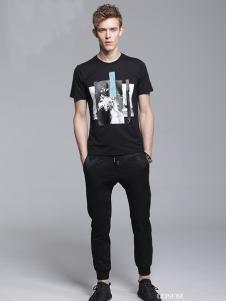 Legend Paul传奇保罗2017春夏新品黑色印花T恤