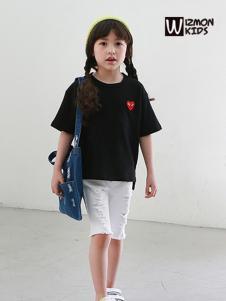 蓝角兽童装2017新款黑色短袖T恤