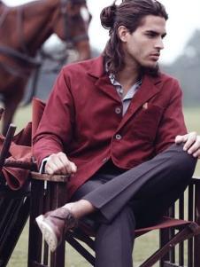 JACK SOUTH男装酒红色外套