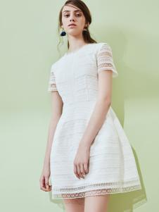 奥伦提17夏新款白色连衣裙