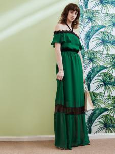 奥伦提17夏新款一字肩长款连衣裙