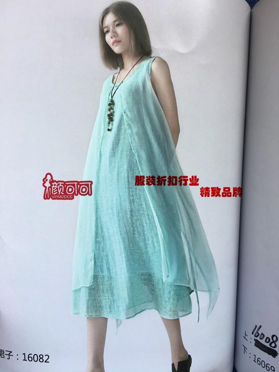 舒适大码/品牌棉麻夏装连衣裙低价批发!三标齐全