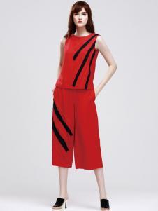丽登雅2017春夏新品红色无袖套装