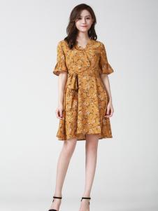 Kaernuo卡尔诺女装新款印花收腰连衣裙