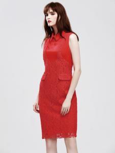 丽登雅2017春夏新品红色蕾丝裙