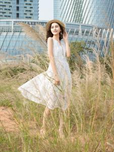 Kaernuo卡尔诺女装2017新款无袖连衣裙