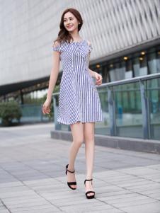 Kaernuo卡尔诺女装新款斜纹连衣裙