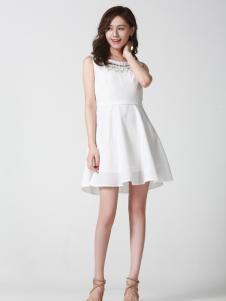 Kaernuo卡尔诺女装新款无袖纯色连衣裙