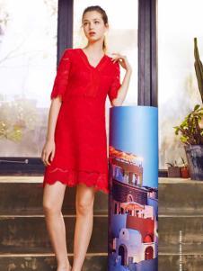 ...minette红色连衣裙