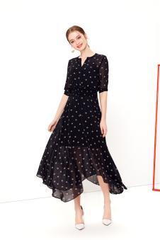 NILICO时尚女装2017年春夏新品雪纺连衣裙