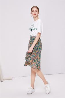 NILICO时尚女装2017年春夏新品不对称半裙