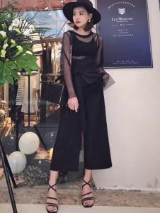 枺上女装2017春夏新品黑色阔腿裤