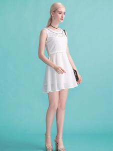淑女日记白色连衣裙