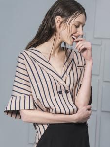 蓝色倾情女装2017春夏新品条纹翻领上衣