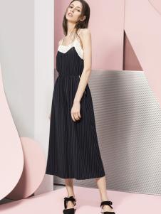 蓝色倾情女装2017春夏新品条纹吊带裙