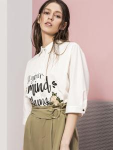 蓝色倾情女装2017春夏新品字母印花衬衫
