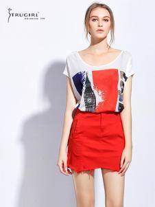 TRUGIRL楚阁女装新款红色短裙
