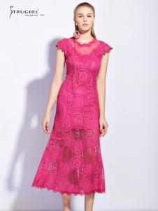 TRUGIRL楚阁女装新款粉色修身连衣裙