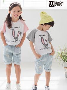 蓝角兽2017新款兔子花纹T恤