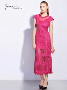 TRUGIRL楚阁女装新款粉色透视连衣裙